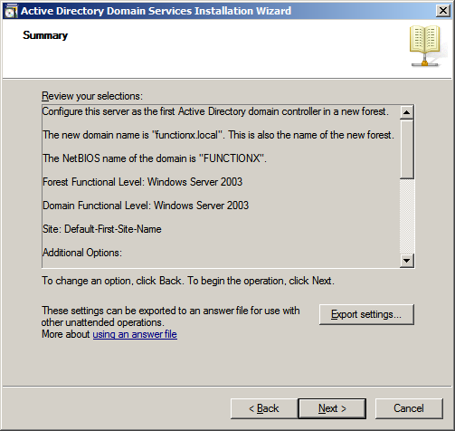 Active Directory Domain Services Installation Wizard
